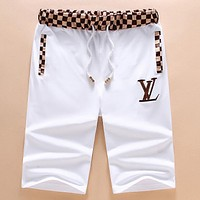 LV Tide brand men's casual wild embroidery letters beach shorts white
