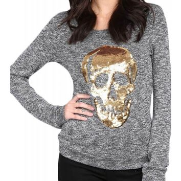 Pretty Attitude Women's Gold Sequin Skull Ugly Christmas Sweater