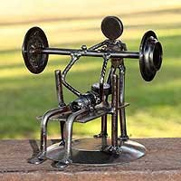 Iron statuette - Rustic Weightlifter - NOVICA