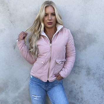 Aspen Pink Quilted Puffer Jacket
