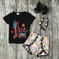baby Girls Summer clothes girls children spirit girl outfits kids arrow outfits black top with feather shorts with accessories