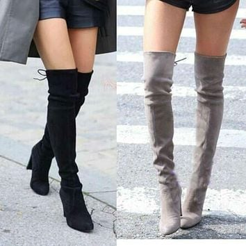 Women Faux Suede Thigh High Boots Stretch Sexy Fashion Over the Knee Boots Shoes Woman High Heels Black Gray Wine Nude