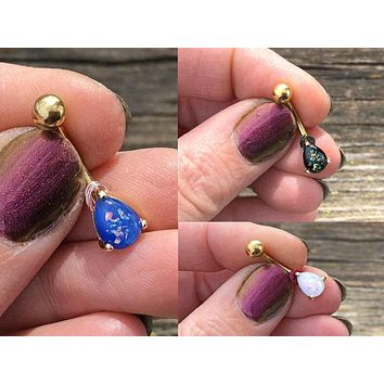Opal Belly Ring Gold White, Blue or Black Opal