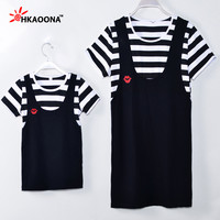 Summer Baby Girls And Mom Dress Family look Clothing Women Kids Casual Stripe Strap Red Lips Decoration Dress Clothes