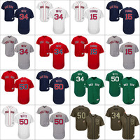 50 Mookie Betts 34 David Ortiz 15 Dustin Pedroia Authentic Jersey , Men's #34 Majestic MLB Boston Red Sox Flexbase Collection stitched s-4xl