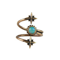 Mystical Wrap Ring in Brass with Opal