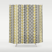 Tribal Triangles-Yellow & Gray Shower Curtain by Bohemian Gypsy Jane | Society6