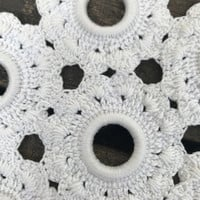 Set of 4 Vintage Doilies, Crochet Around a Ring Doilies, 3 Diamond and 1 Flower Shaped, Off White Doilies