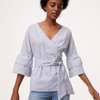 Striped Wrap Blouse | LOFT