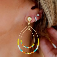 Here We Go Earrings: Yellow/Multi