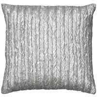 "Metallic Fabric with Gathers Silver Pillow Cover (18"" x 18"")"