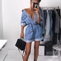 Women Summer Clothing Overalls High Waist Slim Jeans BF Loose Leg Jumpers Lapel Pocket Shorts Jumpsuit Denim Casual Streetwear