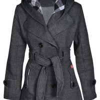 New Womens Hooded Belted Fleece Button Coat Ladies Check Hood Jacket Size 8-14 UK 10 US 6 GREY
