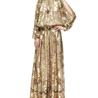 Etro Metallic Cold-Shoulder Jacquard Gown