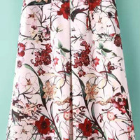 White Floral A Line Pleated Midi Skirt