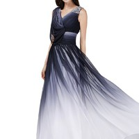 Sunvary Chiffon Gradient V Neck Long Mother of the Bride Prom Dresses Formal Wedding Guest Bridesmaid Gowns US Size 4- Gradient