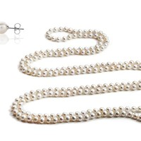 """100"""" Genuine Freshwater Pearl Necklace with Free Pearl Stud Earrings"""