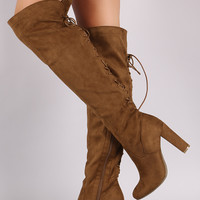 Suede Back Lace Up Chunky Heeled Boots