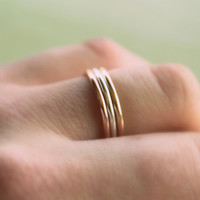Tri Color Ring Set//Sterling Silver14kt. Yellow & by BruteBeauti