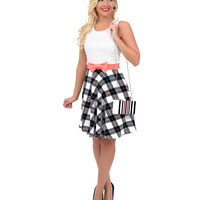 Black, White & Neon Coral Houndstooth Color Block Sleeveless Fit & Flare Dress