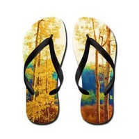 Faded Aspens Flip Flops> Scenic Wonders> Jan4insight Designs