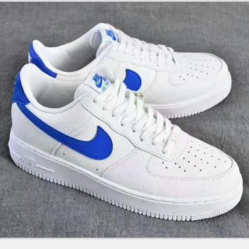 Nike Air Force1 07SE sports sneakers shoes white-blue hook H-PSXY