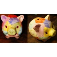 Colorful Ceramic Piggy Bank Adorable Nursery Decor and Gift