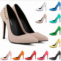 Free Shipping New Thin Heel Pumps Women High Heels Fashion Casual Pointed High-Heeled Shoes Chains Orange Blue White 6