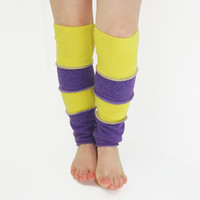 Leg Warmers for Kids in Crocus Purple and Lemon Yellow - Recycled Sweaters - Eco Friendly