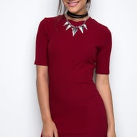 Lala Ribbed Dress - Burgundy