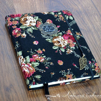 Vintage handmade notebook Fabric covered notebook with antique paper Floral notebook Personal girls diary Floral fabric journal Blank book