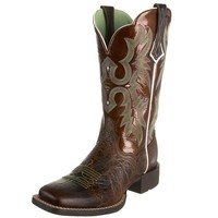 Ariat Women's Tombstone Wide Square Toe Western Cowboy Boot, Chocolate Chip/Brown Patent, 7.5 M US