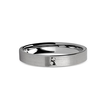Baby Panda Cub Laser Engraved Tungsten Wedding Band, Brushed