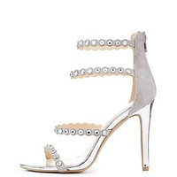 Qupid Studded Strappy Caged Sandals | Charlotte Russe