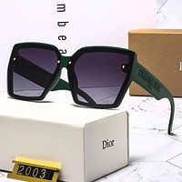 Christian Dior new mens and womens gradient letter engraving sunglasses glasses Green