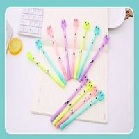 10 pcs/Lot Creative Coloured Lovely Cartoon Cats Eraser Head Gel Ink Pen Student Stationery Gift Office School Writing Supplies