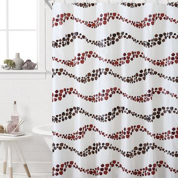 "Royal Bath Burgundy Pebble Waves PEVA Non-Toxic Shower Curtain - 72"" x 72""with 12 Matching Roller Hooks"