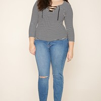 Plus Size Stripe Lace-Up Top