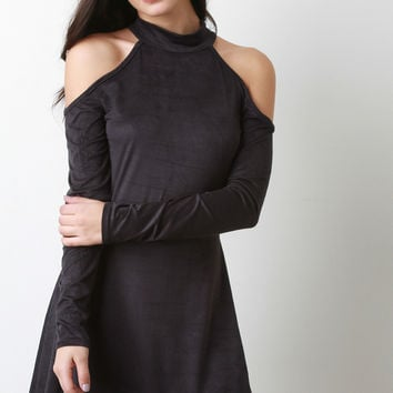 Faux Suede Cold Shoulder Skater Dress