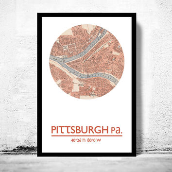 PITTSBURGH PA - city poster - city map poster print