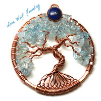 Blue Tree of Life Pendant Copper Aquamarine Bezel Set Lapis Lazuli Twisted Wire Wrapped Metaphysical Tree Necklace Yggdrasil Celtic Tree