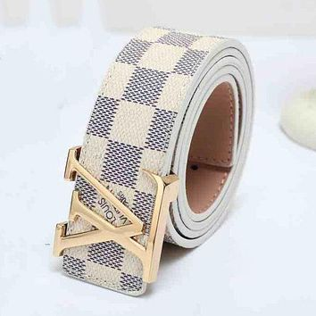 LV Louis Vuitton Popular Woman Men Tartan Print Smooth Buckle Leather Belt White I