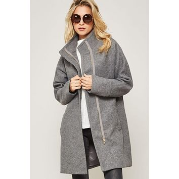 Wool Blend Zip-Up Satin-Lined Coat with Pockets