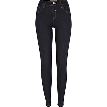 River Island Womens Dark raw wash Amelie superskinny jeans
