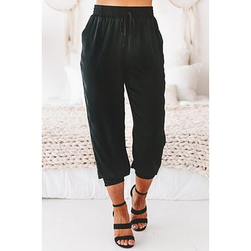 Here To Stay Satin Joggers (Black)