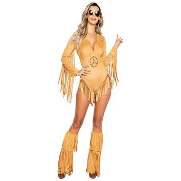 Sexy Peace and Love Fringed Brown Romper Costume