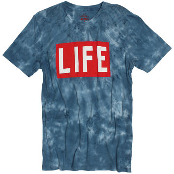LIFE Logo on Tie Dye T-Shirt Magazine Logo on Cloud Wash Style Tee