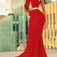 Red Halter Backless Maxi Dress
