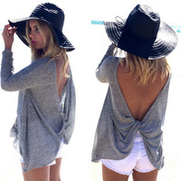 Fashion backless irregular loose T-shirt