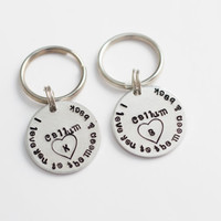 Hand Stamped Couples Keychain Set